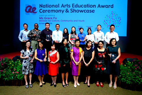 Blaze recipients taking a group photo with GOH, Minister for Culture, Community and Youth, Ms Grace Fu